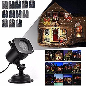 Lightess Christmas Projector Lights LED Landscape Projector Lamp IP67 Waterproof Outdoor Decorations Landscape Lights with 12 Replaceable Pattern Slides for Christmas Halloween Birthday Wedding Parties Decorations Outdoor and Indoor (UK Plug/12 Slides): Amazon.co.uk: Lighting