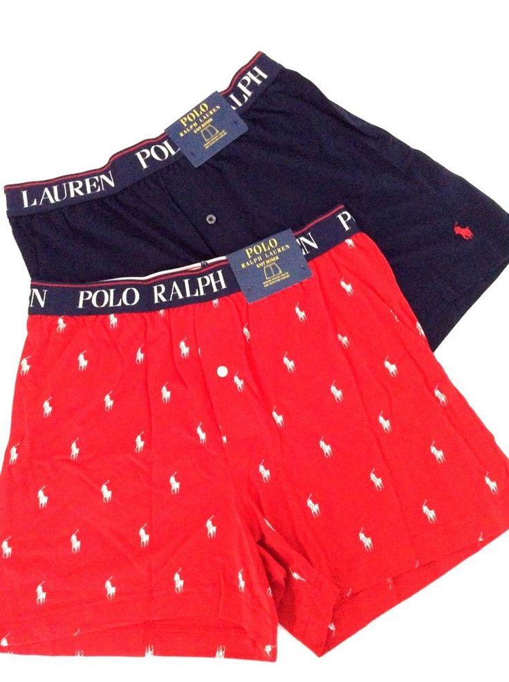 NWT Lot/Set of 2 Ralph Lauren Polo Knit Logo Boxers Shorts Button Closure  $56 M #PoloRalphLauren #knitBoxer