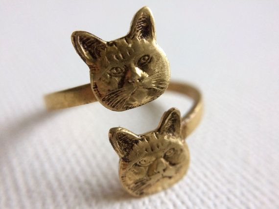 Cat Ring Gold Cat Ring Kitty Ring Twin Cats by PERCIVALandHUDSON