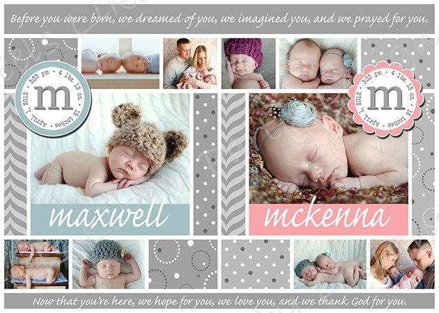 Custom Twin Baby Announcement by FeelsLikeAParty on Etsy