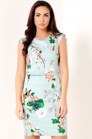 Paula Floral Midi Dress in Mint