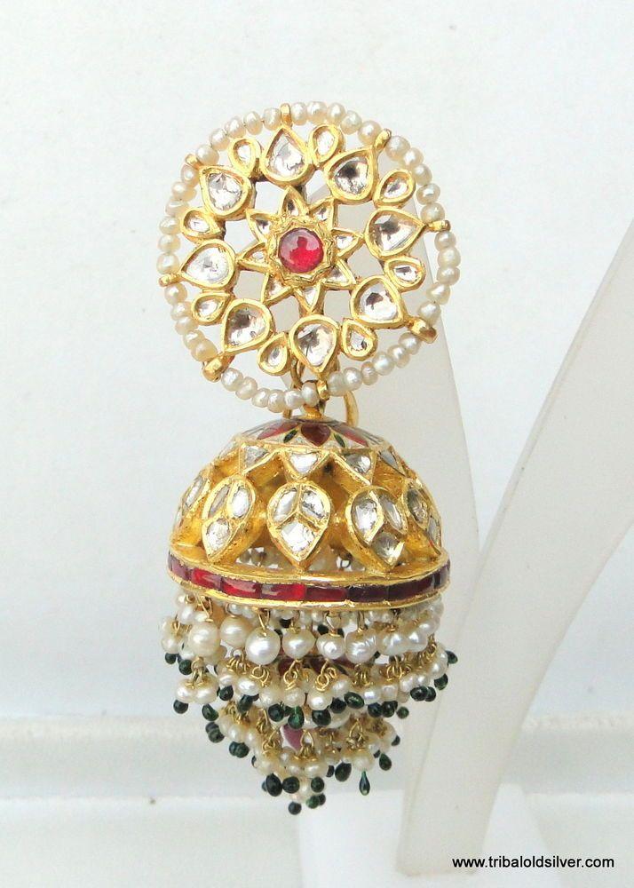 VINTAGE ANTIQUE 22K GOLD DIAMOND POLKI KUNDAN EARRING PAIR JHUMKI DANGLE
