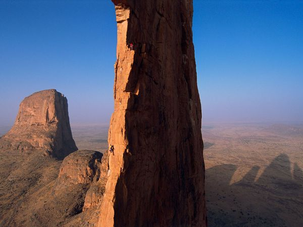 """Jimmy Chin. """"The Hand of Fatima and the Kaga Tondo in Mali, is a personal favourite of mine. That shot sums up the bravery and tremendous ability of these climbers, who allowed me to join them and to experience the same dangers that they face"""""""