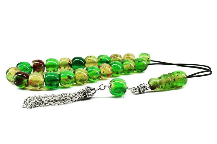 Green Caribbean Amber color Worry Beads Greek Komboloi Metal Tassel Relaxation Gift for Him Made in Greece Tesbih Stress Relief