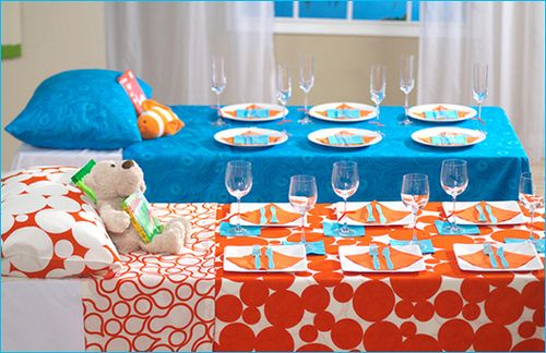Slumber party tables.