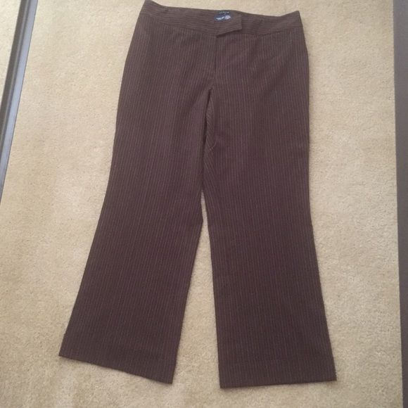 Brown slacks with strips Pre-loved.  Loved them but they don't fit.  😔 Lane Bryant Pants