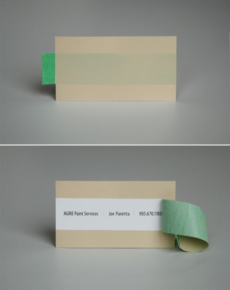 Creative business card. Extreme Group from Toronto designed this card for Agrie Paint Services. You have to tear it up to read it.