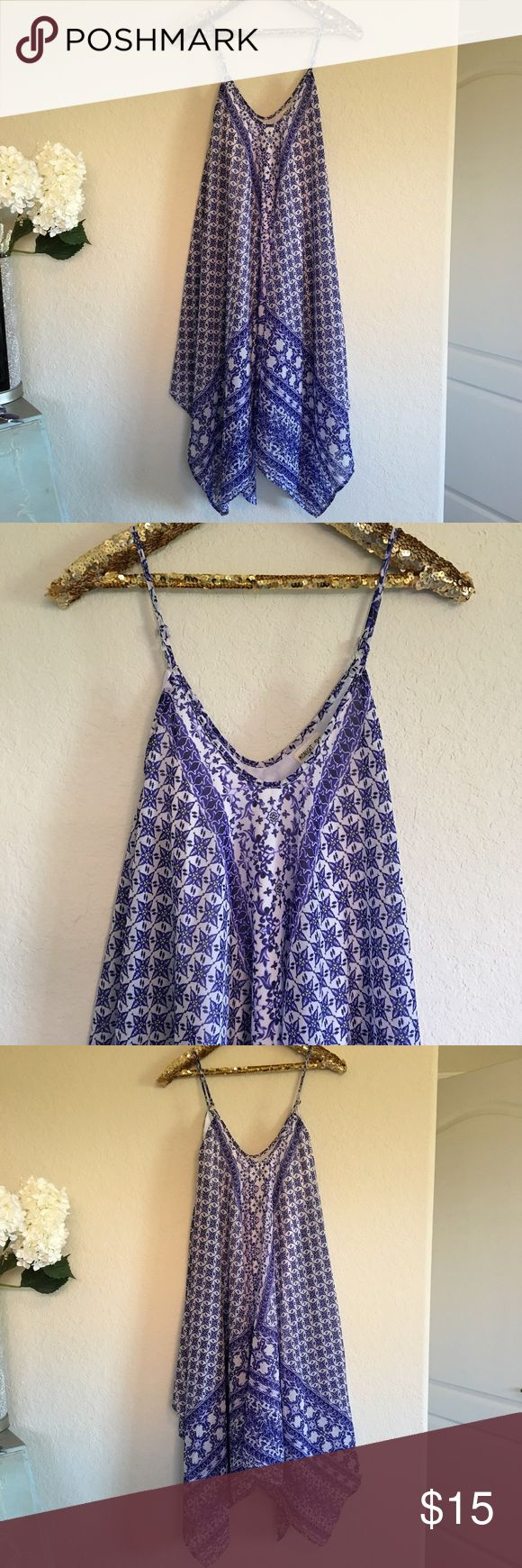 Midnight Sky Handkerchief Dress This beautiful blue and white handkerchief dress is in amazing condition! It's so pretty on and very stylish! It's fully lined and has adjustable straps.  🚭 From a smoke-free home ❌ No trades or off PoshMark sales 🛍 Bundles welcome and encouraged 👌🏻 Reasonable offers welcome ⚡️ Same/next day shipping 🌬 All items are steamed before shipping Midnight Sky Dresses