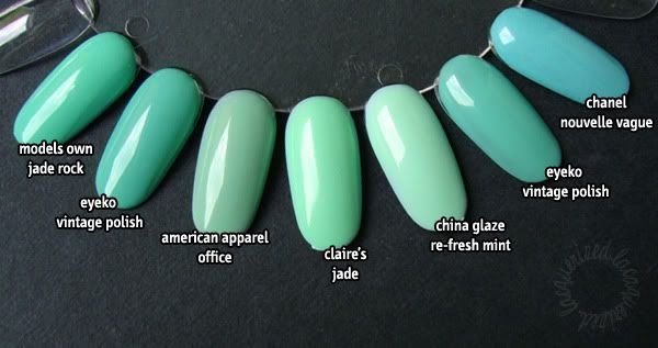 Mint green comparison- Models Own Jade Rock, Eyeko Vintage, American Apparel Office, Claire's Jade, CG Re-fresh Mint, Eyeko Vintage and Chanel Nouvelle Vague