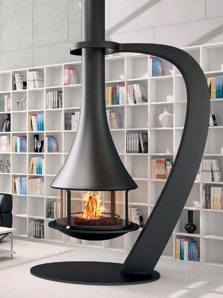 The Bordelet Zelia 908 Suspended wood fireplace by Abbey Fireplaces.