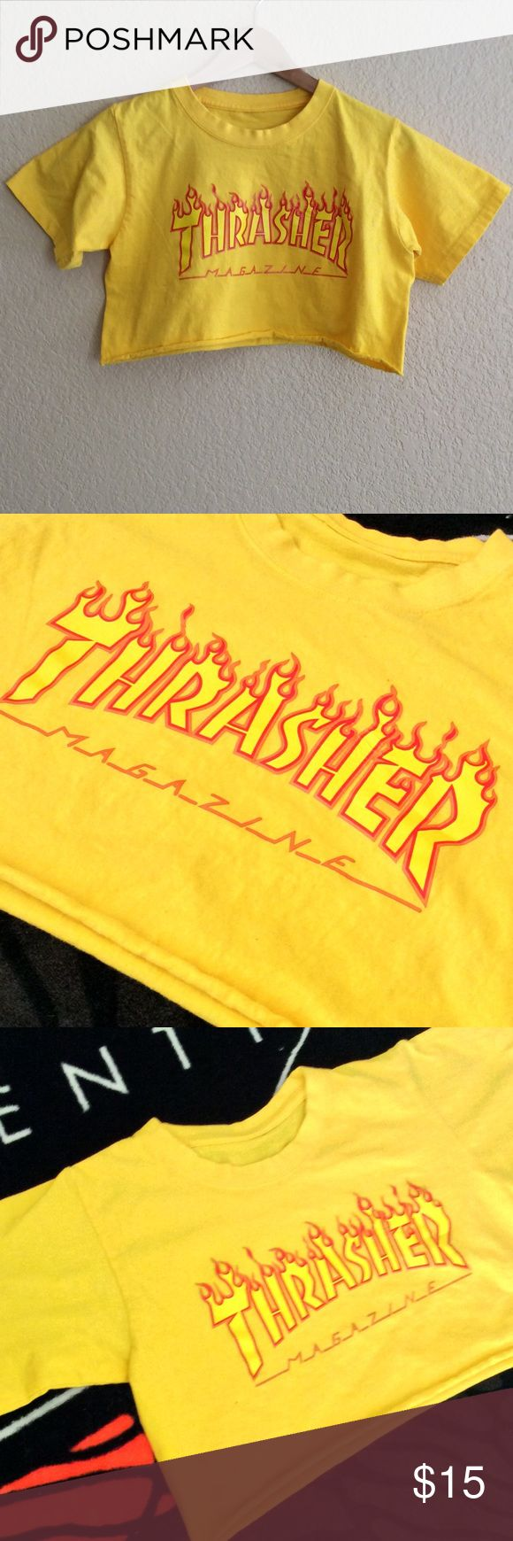 Thrasher flame crop top XS Gold cropped skate T shirt. Best fit XS. Not Thrasher Magazine. thrasher Tops Crop Tops