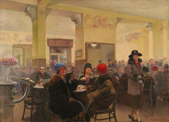 """Józef Rapacki (1871-1929), """"W kawiarni- Ziemiańska"""", 1929"""