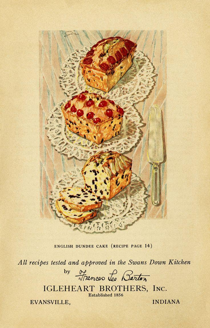 vintage cake clip art, English Dundee cake, baked goods ...