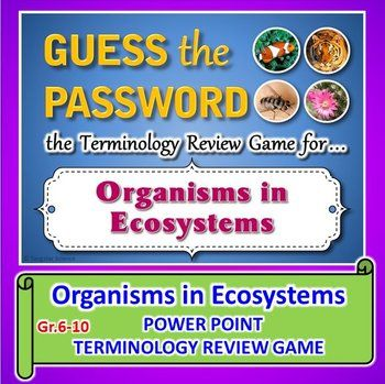 ORGANISMS IN ECOSYSTEMS GUESS THE PASSWORD TERMINOLOGY REVIEW GAME (Editable):  Password Terms: biotic, producer, consumer, photosynthesis, glucose, autotroph, heterotroph, phytoplankton, carnivore, carne, herbivore, herba, omnivore, omni, generalist, decomposers, detritus, vorare, cellulose, predator, prey, scavenger, carrion