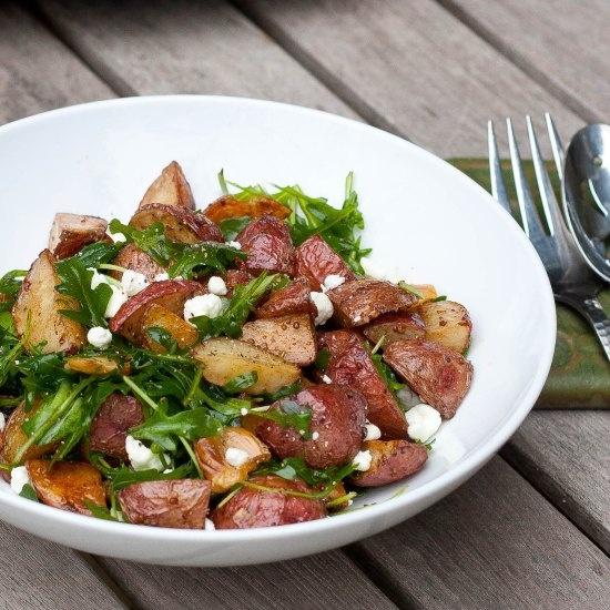 Roasted New Potato Salad with Arugula and Goat Cheese   Potato patato ...