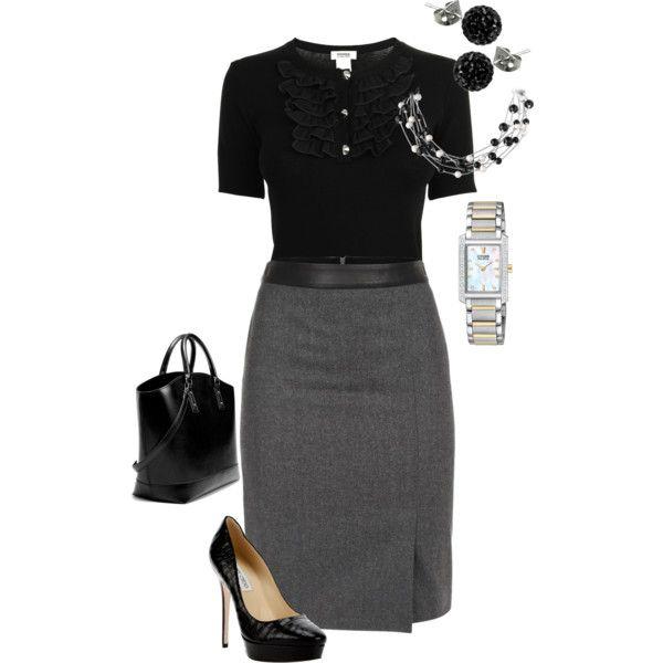 Work Outfit El color negro otorga autoridad al atuendo, combínalo con accesorios plata para crear contraste.