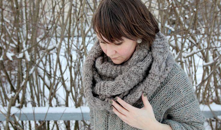 easy infinity scarf, stockinette & garter stitch