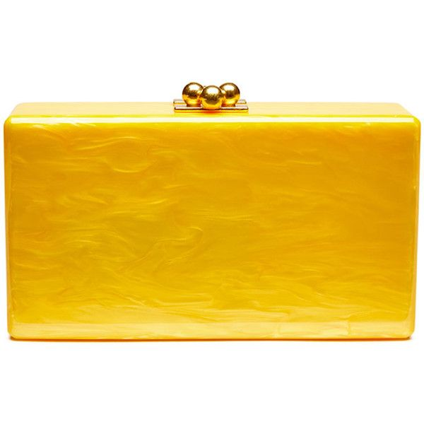 Edie Parker Jean Solid Acrylic Clutch Bag (€845) ❤ liked on Polyvore featuring bags, handbags, clutches, yellow, lucite handbags, edie parker, kiss-lock handbags, edie parker clutches and acrylic handbag