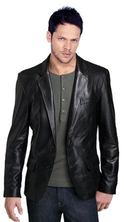 """Buy ductile and cozy mens leather blazer online...my info for Chris: 71"""" height, XXL in Black..$284.00 @ www.leatherfads.com"""