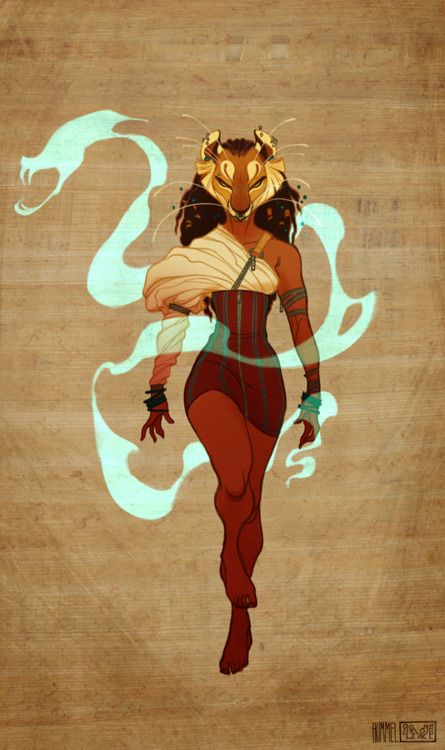 """Sekhmet from Egyptian Mythology  (Goddess of War and destruction, and healing) as drawn by Claire Hummel (shoomlah on Deviantart).  This was for a remake/remodel on the Warren Ellis forum. """"The idea for this particular challenge was to do a modern day version of Sekhmet, as she might appear in comics."""""""