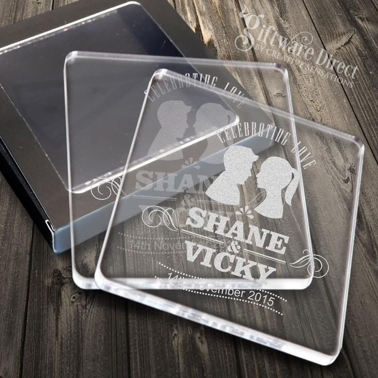 Decorate your wedding tables in style with our beautiful acrylic wedding coasters engraved through the back leaving a great effect. These coasters are cut and engraved using our high powered and precise laser engravers giving them clean cut edges with rounded corners. Add guest names  for no extra charge for a gift that is not only thoughtful but also very useful. #GiftwareDirect #place setting #wedding