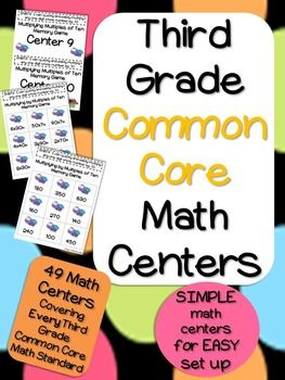 Who doesn't want SIMPLE set up math centers for their classroom? These math centers were created with you in mind! The centers involve matching cards with answers to the corresponding problems. A recommended way to set this up is to use file folders. One page can be glued down and cards on the other page are cut up to match.