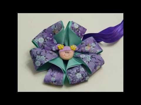 Como Hacer Moños con listón ,  Flores de listón ,Moños para Niñas, - YouTube