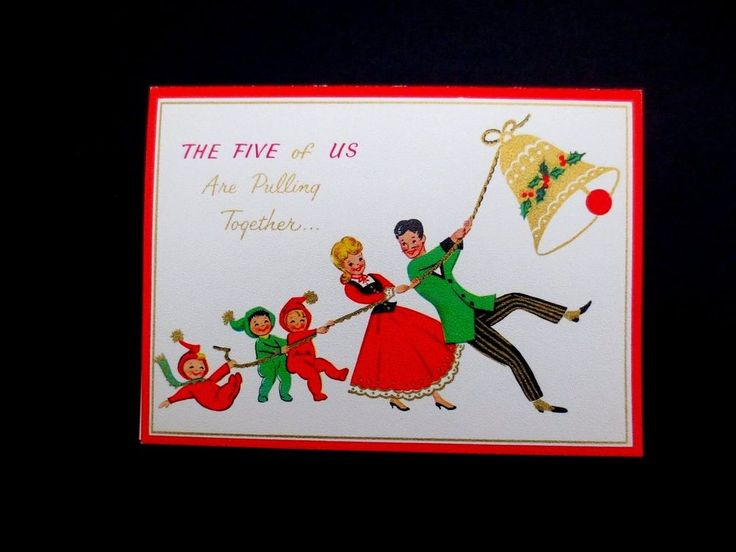 Vintage Unused Xmas Greeting Card From the Five of Us Family Ringing Golden Bell | Collectibles, Paper, Vintage Greeting Cards | eBay!
