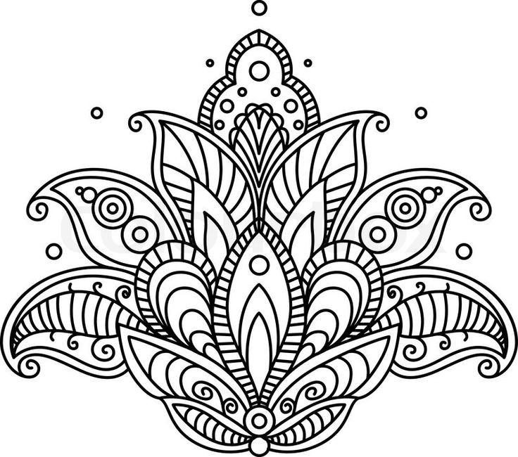 Stock vector of 'Pretty ornate paisley flower design element in a dainty black calligraphic line drawing'