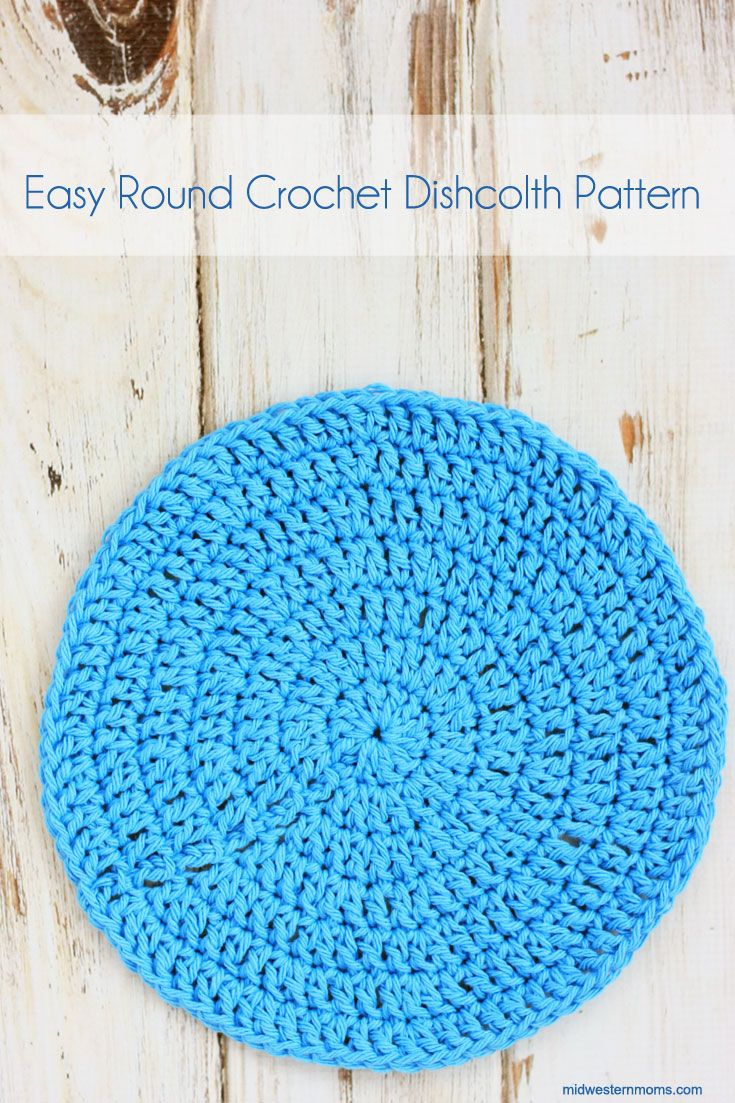 Easy round crochet dishcloth - Perfect for beginning crocheters.