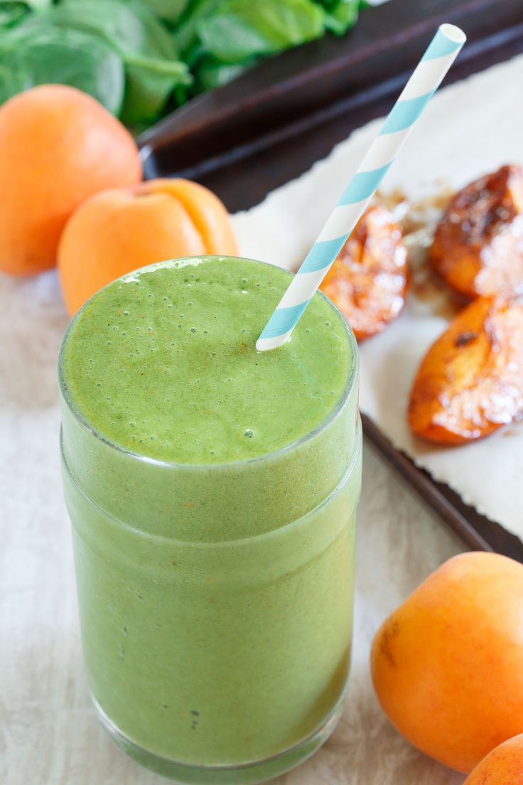 This roasted apricot smoothie gets a healthy green boost with spinach and natural spinach extract, #AppeFIT from @VitaminShoppe to help keep you feeling full longer! #sponsored