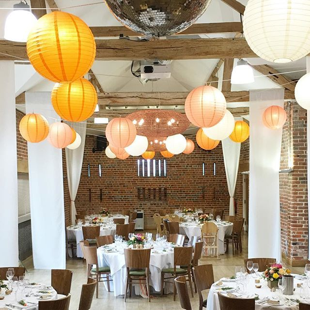 Huge thanks to @oakwoodevents for this amazing installation of drapes and lanterns for today's wedding. Beautiful florals from @acaciafloristry | pallet seating and barrel for cake from @partybales | venue @wasingpark | stationery from @emeraldpaperdesign and @russetandgray #weddingstylist #barnwedding #wasingpark #hanginglanterns #rusticwedding #weddingstyling #berkshirewedding