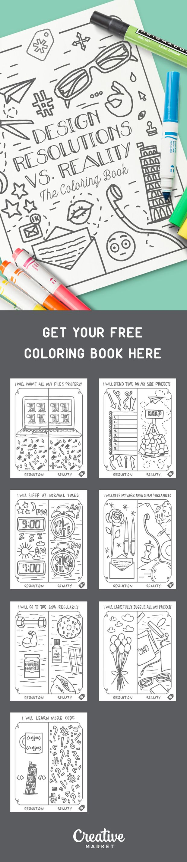 On the Creative Market Blog - Free Coloring Book: Design Resolutions vs. Reality