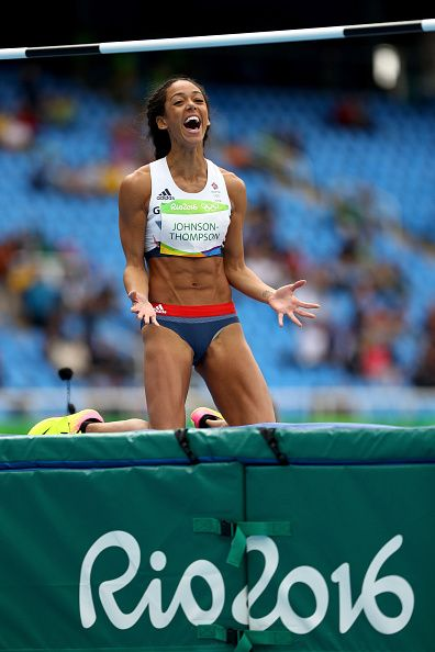 #RIO2016 Katarina Johnson-Thompson of Great Britain reacts after a scuessful attempt during the Women's Heptathlon High Jump on Day 7 of the Rio 2016 Olympic...