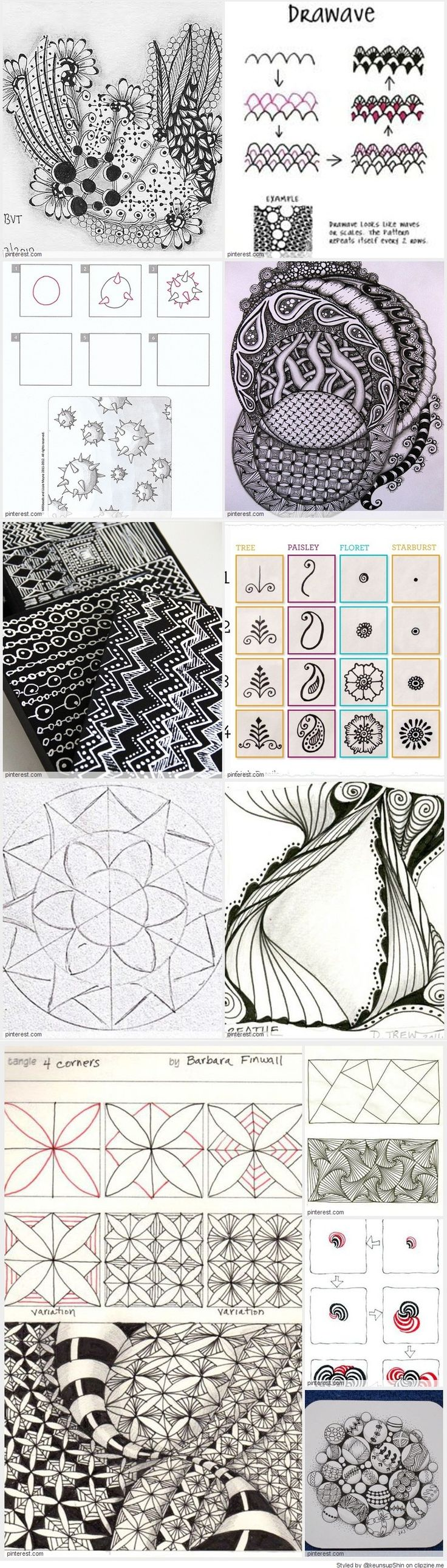 17 best images about zentangle for beginners on pinterest for Doodle tutorial