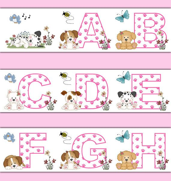PUPPY NURSERY BORDER Decal Pink Alphabet Wall Art Baby Girl Decor Kids Abc Letter Dog Paw Print Stickers Room Childrens Animal Decorations #decampstudios
