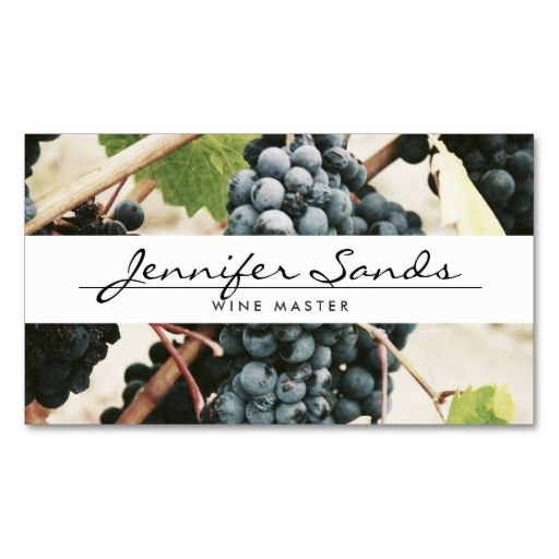 WINE GRAPES, WINERY, WINE MASTER Business Card. I love this design! It is available for customization or ready to buy as is. All you need is to add your business info to this template then place the order. It will ship within 24 hours. Just click the image to make your own!