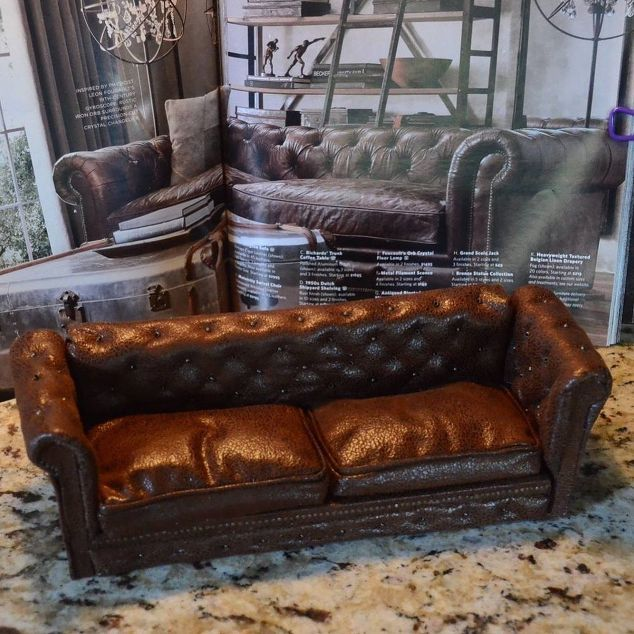 This tiny leather couch makeover is the cutest thing you will see today