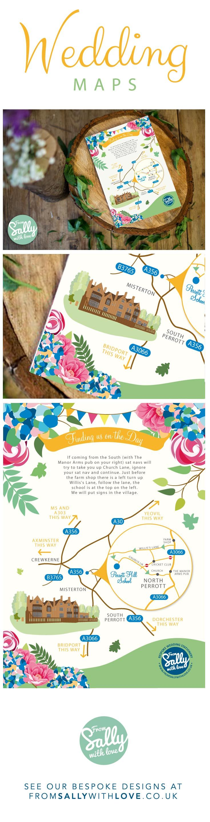 A wedding map with directions to the stunning Perrott Hill School in Somerset. surrounded with the flowers Kathryn and Matt's had at their wedding.   #wedding #map #weddingmap #weddingideas #weddinginspiration #weddingflowers #weddinginvitations #weddinginvites #invitation #invites #flowers #colourful #weddingexpert #directions