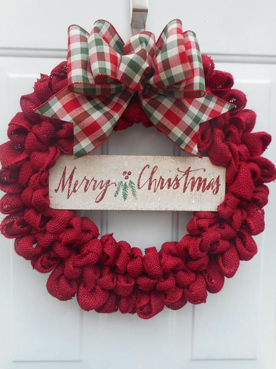 Christmas burlap wreath Red Christmas burlap wreath Merry