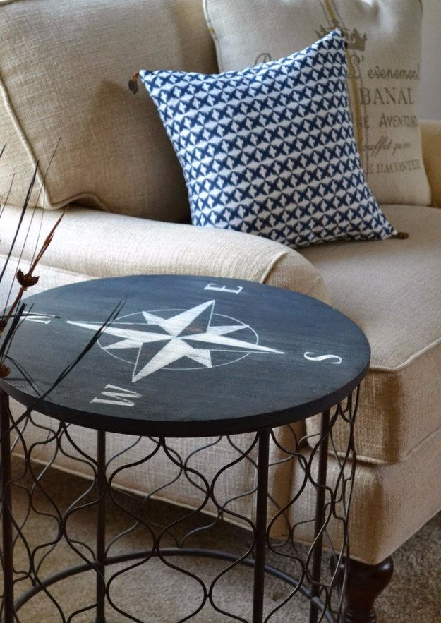 Compass Side Table | 33 Nautical DIYs That Will Transport You To The Beach