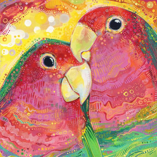 two peach-faced lovebirds