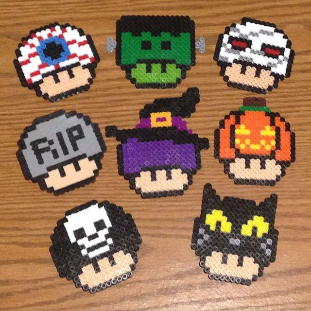 Halloween mushrooms perler beads by adobixartsandcreations
