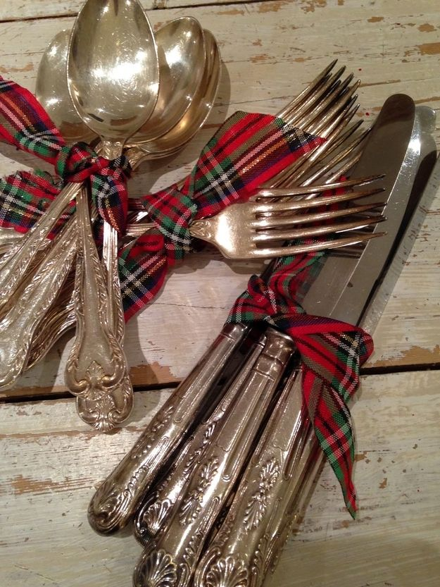 Wrap cutlery in tartan ribbons - or napkins. | 24 Ways To Have The Ultimate Burns Night Supper