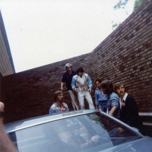 Leaving hotel in Huntsville Sept 6 1976 Source Elvis Collectors
