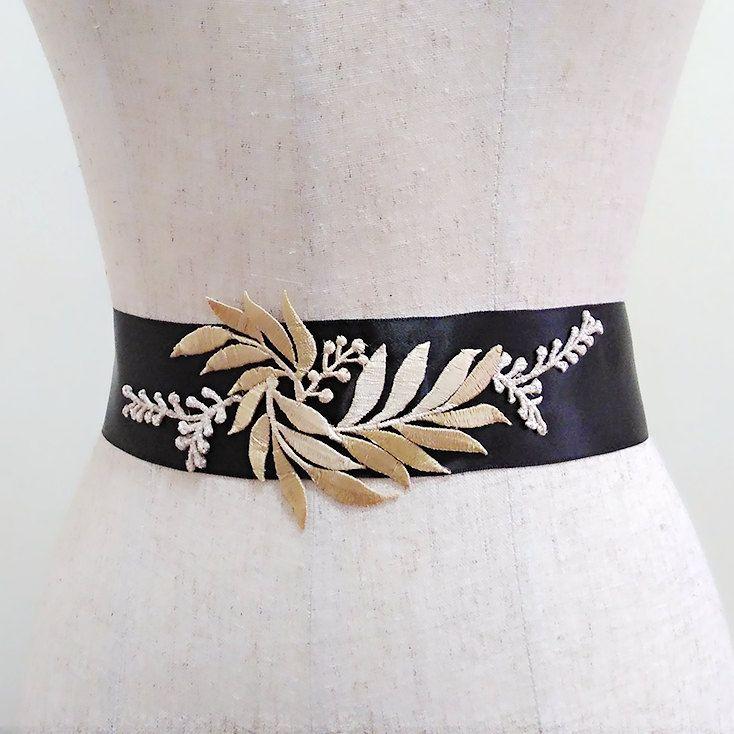 Gold leaf bridal belt, Gold leaves wedding belt, Bridal belt, Leaf belt, Sash belt, Dress belt, Wedding dress sash,Gold leaf embroidery sash by MagicSashAccessories on Etsy