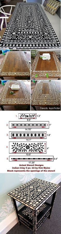 Craft and Furniture Stencils I love this the black and white finish is an eco alternative to the bone inlay furniture that some designers use.