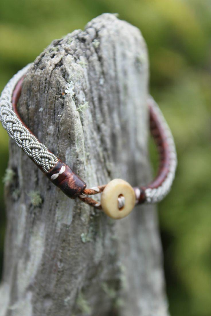 sami bracelets | Sami' Scandinavian Leather and Silver Bracelet- Double Plait