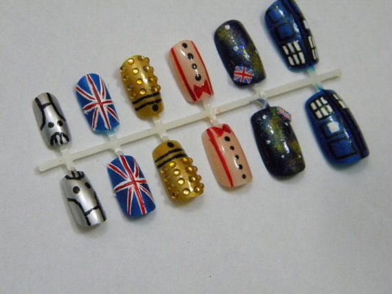 Doctor Who Press On Nails Eleventh Doctor. These are awsome but I would need to find ones for humans because we have 5 fingers not six... ;)