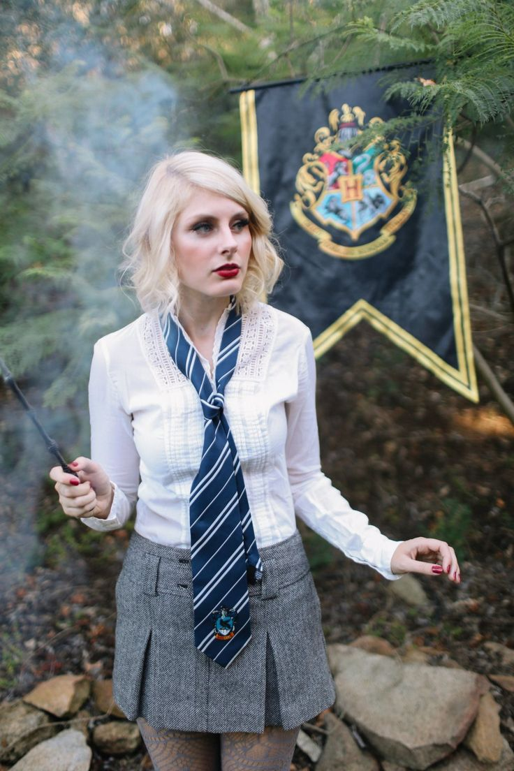 DIY Halloween Costume: Luna Lovegood! Grab a button down shirt, a schoolgirl pleated skirt, funky tights and boots and you're almost there. You can buy or make your own wand. Buy a Ravenclaw tie to cinch the look together!